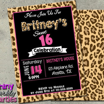 LEOPARD PRINT INVITATION - Sweet 16 Birthday Invitation - Pink And Leopard Print Invitation - Leopard Print Invite - Teen Party printable