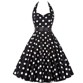 Toppick Polka Dot Retro Dress Halter Party Dress Bow Hepburn Vintage Pin Up Rockabilly Dresses Robe Plus Size Elegant Midi Dress