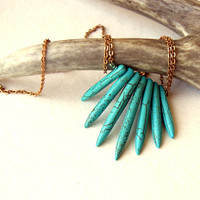 Turquoise Howlite Spike Necklace - dagger necklace - stone necklace - gemstone necklace - vintage brass chain - bohemian jewelry