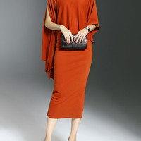 Orange Elegant Turtleneck Cotton-blend Two Piece Work Dress