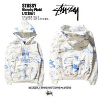 [ FREE SHIPPING ] Stussy Couple fashion Hooded Murphy Plaid Zipper Cardigan Sweatshirt Jacket Coat Windbreaker Sportswear _ 9544