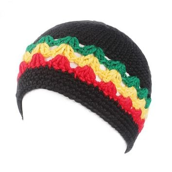 Winfox Fashion Male Knitted Crochet Jamaican Rasta Hat Dreadlocks Winter Warm Wool Beanies Hats For Women Men Bob Marley Cap