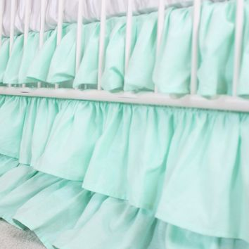 Waterfall Ruffle 3 Tier Crib Skirt | Solid Mint