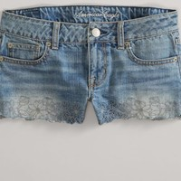 AEO Women's Embroidered Denim Shortie (Indigo)