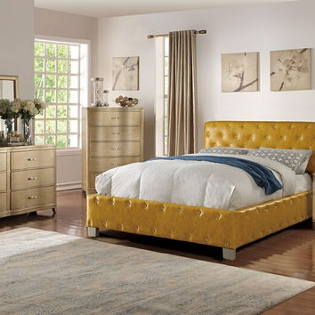4 pc Janelle collection citrus faux leather tufted upholstered queen bed set
