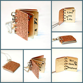 METAL BOOK PENDANT- Live the Life You Have Imagined - Thoreau - Hand Stamped Copper and Brass with Etched Design - Can Be Customized