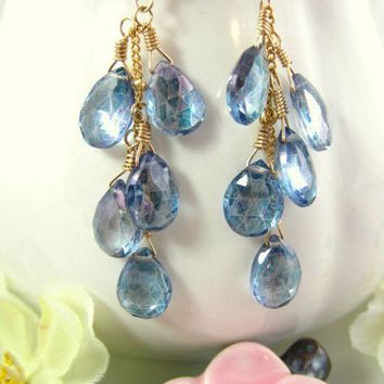 Blue mystic quartz cluster drop earrings