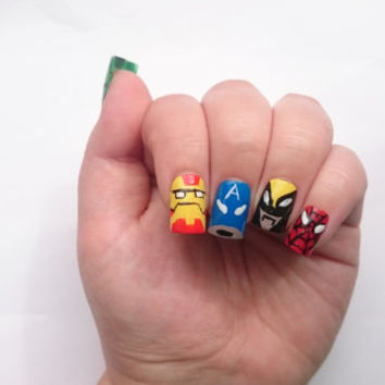 Avengers Fake Nails/  SuperHero Nails / Nail Decal / Artificial Nails / False Nails/ Xmen Nails / Short Nails / For Her / Birthday Nails