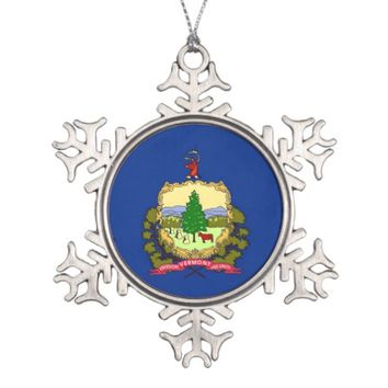 Snowflake Ornament with Vermont Flag