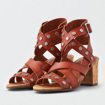 AE Studded Block Heel Sandal, Tan
