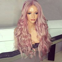 Long Center Parting Fluffy Wavy Synthetic Wig - Pink