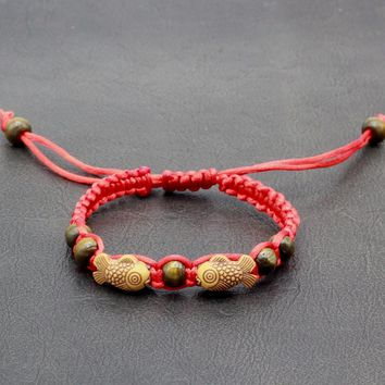 Red Cord String Double Wood Fishes Luck Chinese Good Wishes Braided Handmade Bracelet
