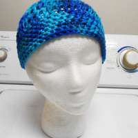 Sapphire Blue Crochet Beanie hat winter hat warm hat fits adults and kids
