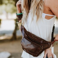 Leather Fanny Pack Carryall - Brown