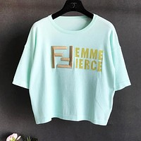 Fendi New fashion bust embroidery letter print women top t-shirt Mint Green