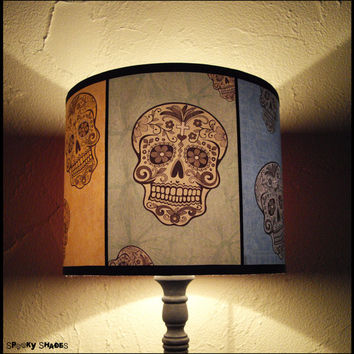 Rainbow Sugar Skulls Lamp Shade Lampshade - SPOOKY SHADES, skull lamp shade, sugar skull decor, calavera, Day of the Dead,mexican decor,boho