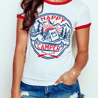 HAPPY CAMPER GRAPHIC RINGER TEE