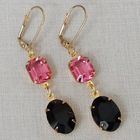 Black and Rose Earrings made with Vintage Swarovski Crystals Classic Hollywood Retro Glam Vintage Bride Womens Earrings Vintage Bride