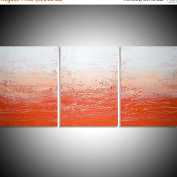 "LARGE WALL ART triptych 3 panel wall contemporary art ""Tangerine Triptych"" orange canvas original painting abstract wall kunst 48 x 20"""