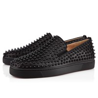 Christian Louboutin Roller-Boat Flat Men's Women's Flat Black Leather 3120490CM53