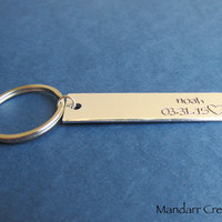 Fully Personalized Name and Date Keychain, Hand Stamped Aluminum, Bar Key Chain, Anniversary, Couples Gift