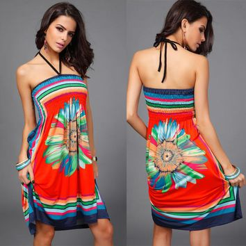 Sexy dress Summer Cheap sexy chest wrapped retro Harajuku style casual beach dress ladies strapless print dress 2016 Women dress