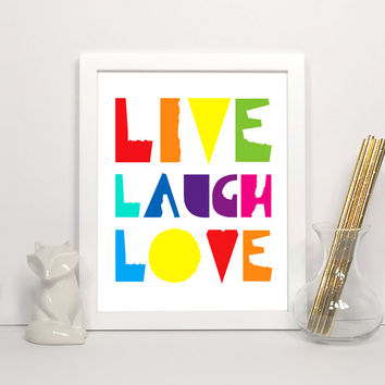 Live, Laugh, Love - Digital Art Print, Modern Wall Art, Printable Typography Print, Instant Download 5x7, 8x10, 11x14