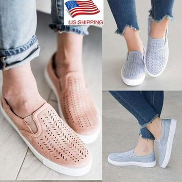 Women Breathable Trainers Slip On Flat Plimsolls Sneakers Pumps Casual Shoes