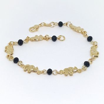 1-0648-g6 Gold Overlay elephants Bracelet with Avabache (Faceted Black Onyx).