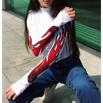 New autumn winter women's flame red lines letters long sleeve Hooded sweater top