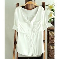 Three Quarter Sleeve Solid Color Thin Slim Shirt