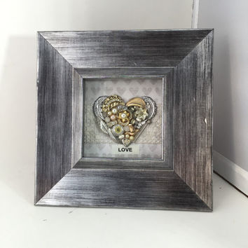 Framed Picture Jewelry Heart Say It With Love Inspirational Art Silver Rhinestones Reclaimed Up cycled Repurposed  Vintage OOAK
