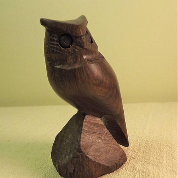 Wooden Owl Figurine, Wood Bird Figurine, Vintage Hand Carved Owl, Small Owl Statue, Small Carved Bird, JoBa Made in Mexico Collectible