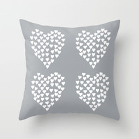 Hearts Heart x2 Grey Throw Pillow by Project M