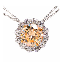 6.40ct Natural Fancy Light Yellow Diamond Gold Necklace