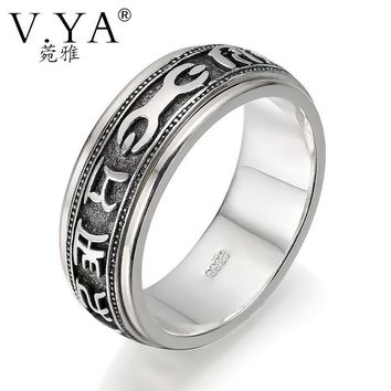 V.YA Brand Sterling SilverJewelry Six Words Vintage Silver Mantra Rings for Men Pestle Luck Ring