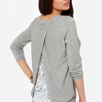 Friends in High Laces Grey Lace Sweater