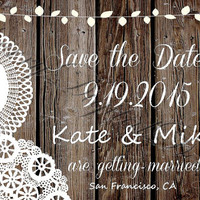Printable Lace Rustic Shabby Chic Wedding Invitation Save the Date. Custom wedding ,Brown & White Fancy Western Wood Wedding Save the Date