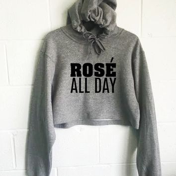 Rose' All Day Cropped Hoodie
