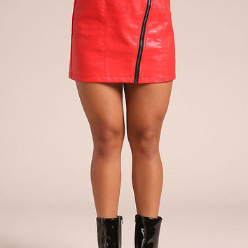Red Leatherette Belted Zipper Mini Skirt