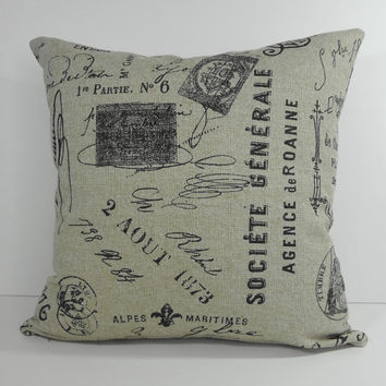 French Script Decorative Pillow Cover, Vintage French Script Postcard Cushion