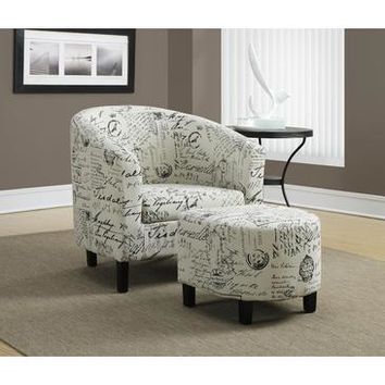 Monarch Specialties Vintage French Fabric Accent Chair And Ottoman I 8058