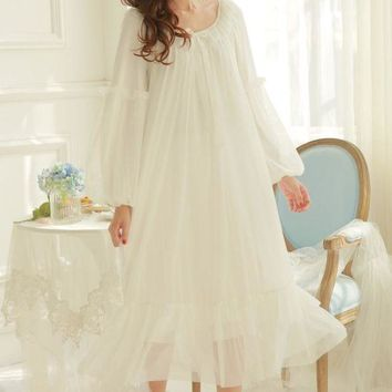 VONG2W Soft Modal Nightgown women's winter Princess Lace Sexy Nightgown ladies Pajamas long sleeve nightgown pyjamas women
