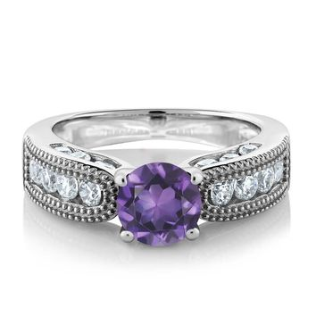 Natural Purple Amethyst, Wedding Band, Sterling Silver Ring, 1.94 Carat