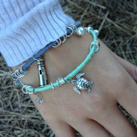 Silver Nautical Lighthouse and Sea Turtle by ShopNauticalKnots