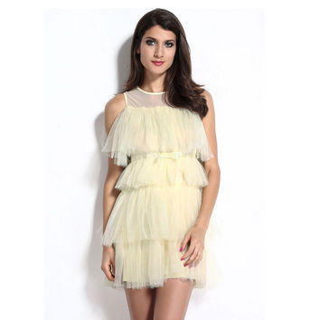 Dress Female Lace Zippers Sexy Princess Pleated One Piece Dress = 4804224836