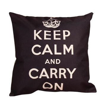 Keep Calm Carry On Throw Pillow Cover