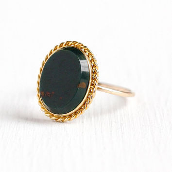 Antique Bloodstone Ring - 18k & 14k Rosy Yellow Gold Green Red Heliotrope Stick Pin Conversion - Vintage Victorian Size 6 1/4 Fine Jewelry