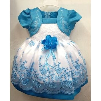 Stylish Print Fashion Chiffon Lace Ball Gown Infant Baby Girls Blue Floral Dress