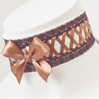 Steampunk choker - Hightown Grace - White and brown victorian gothic choker with lacing - cosplay con larp costume lolita pirate accessories